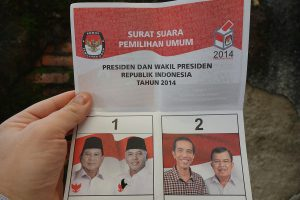 A voting bulletin just after the official closing of elections at a voting station in Jakarta. / Indonesian election