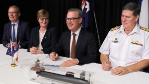 Naval Group has achieved another milestone in the Future Submarine Program with the signing of the first phase of the Submarine Design Contract. The occasion was marked by The Hon. Christopher Pyne MP, Minister for Defence and representatives from Naval Group and the Commonwealth of Australia (CoA) at a ceremony in Canberra. / Attack class submarine