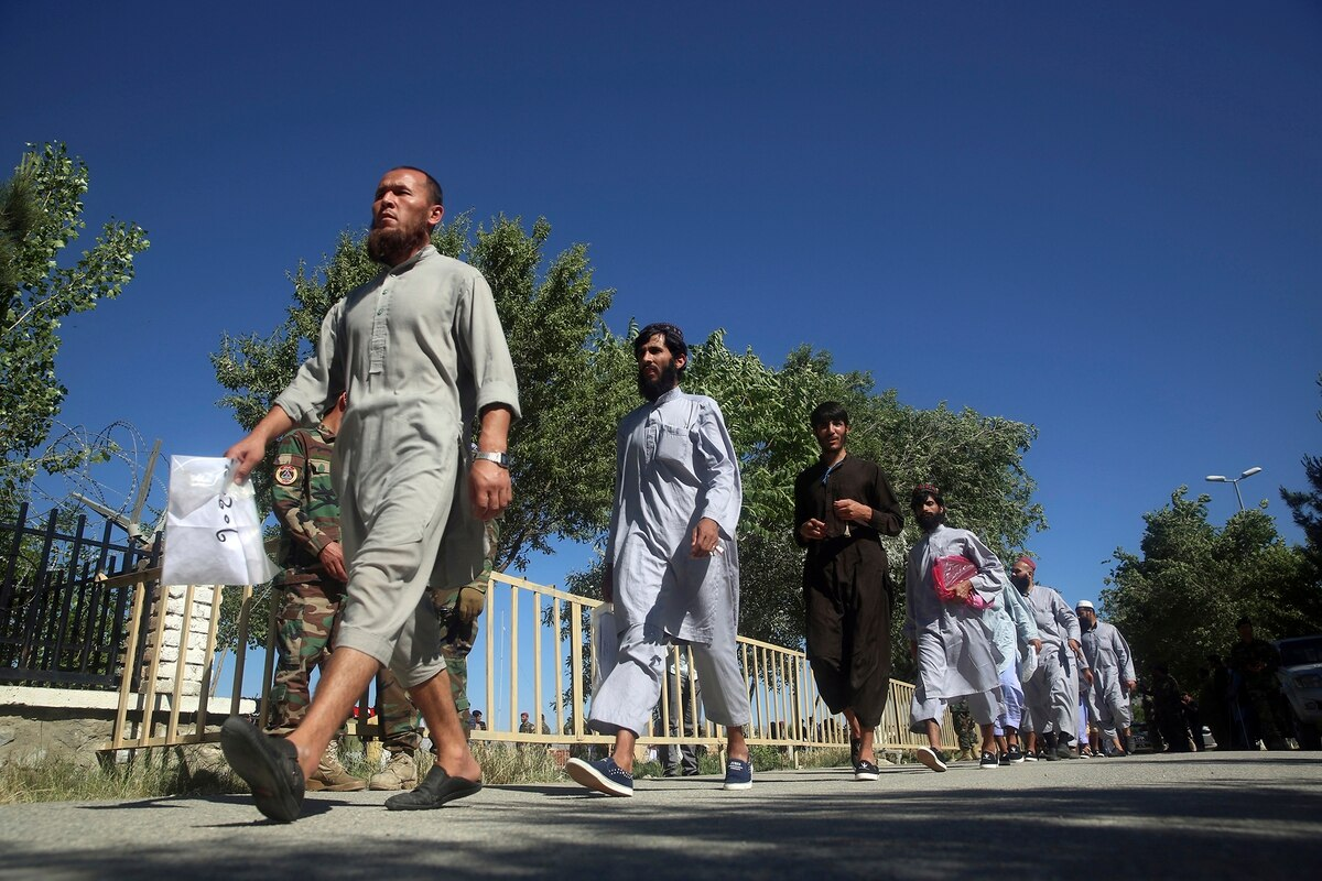 Taliban soldiers released from an Afghan prison in May